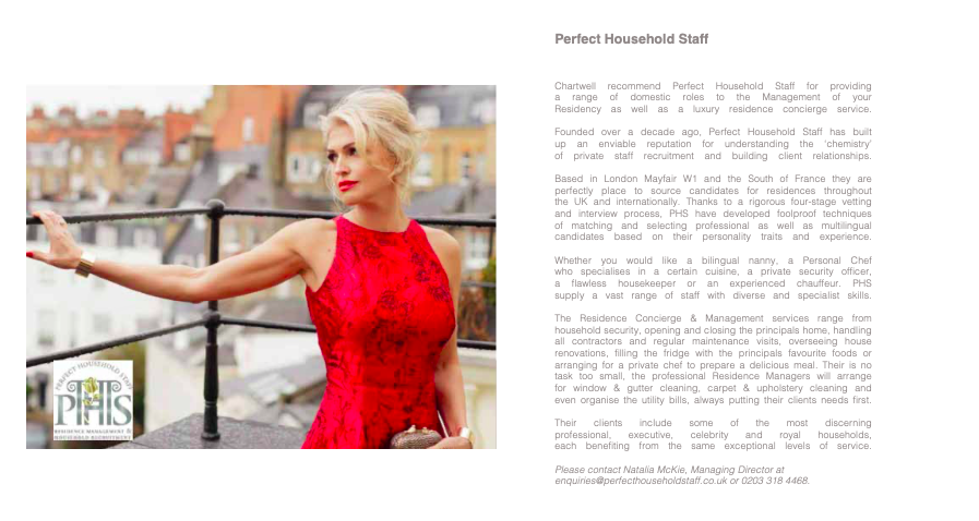 London's finest property Developers Chartwell recommends PHS Property Concierge to their Clients